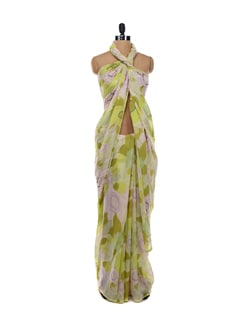 Olive Green Floral Saree - LY2