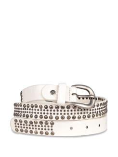 Wide Studded White Belt - Carlton London