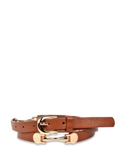 Sleek Belt With Copper Metal Buckles- Brown - Carlton London