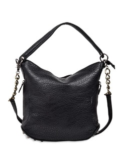 Croc-effect Black Handbag - Carlton London