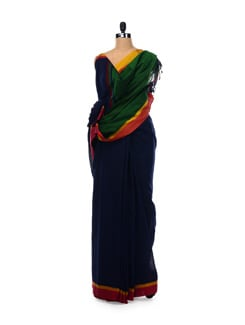 Navy Blue And Green Saree - Desiweaves