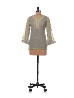 Lime Green And Purple Chikankari Kurti - Vandeymatram