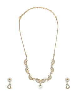 Two Tone Designer Necklace Set - Oleva