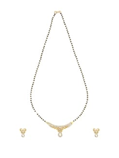 Gold Diamond Mangalsutra Set - Oleva