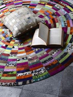 Multicolor Animal Hide Carpet - Lthr
