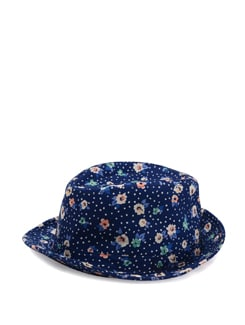 Navy Blue Printed Hat - Addons