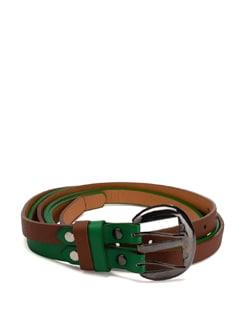 Stylish Green And Brown Belt - Addons