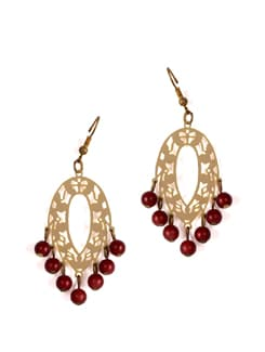 Gold Danglers With Maroon Drops - Addons