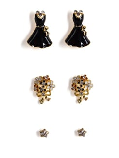 Gold Studs With Diamonds - Set Of 6 - Addons