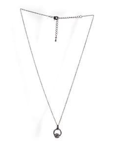 Silver Necklace With Studded Pendant - Addons
