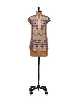 Light Orange And Brown Printed Top - AND
