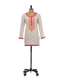 Elegant Short Kurta In Cream With Pink And Orange Accents - Global Desi
