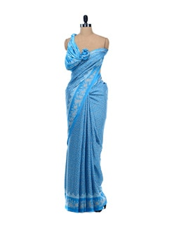Blue Printed Crepe Saree - Garden