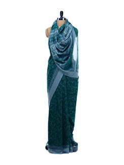 Green And Grey Printed Saree - Garden