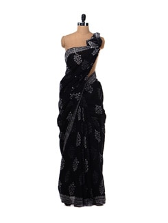 Black Cotton Printed Saree - Nanni Creations
