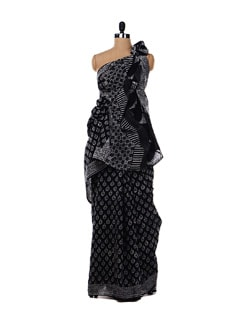 Black Handblock Print Saree - Nanni Creations