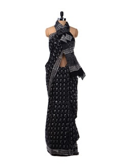 Black Printed Cotton Saree - Nanni Creations