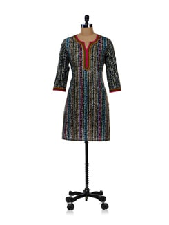 Multicolor Lace Kurti-blue - WILD WOMAN