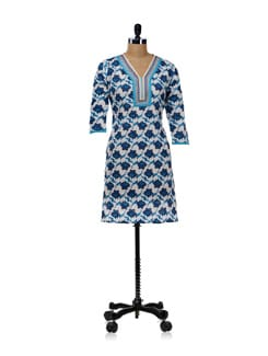 White Kurti With Blue Floral Design - WILD WOMAN