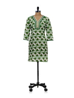 White Kurti With Green Floral Design - WILD WOMAN