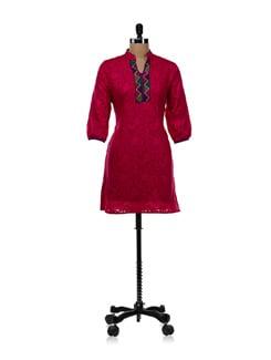 Pink Jacquard Front Lace Kurti - WILD WOMAN
