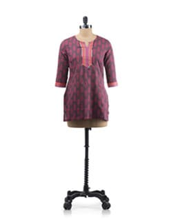 Brown Ethnic Print Kurta With Contrast Neckline - Aurelia
