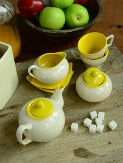 Morning Tea Set Of 7 - White And Yellow - Cultural Concepts