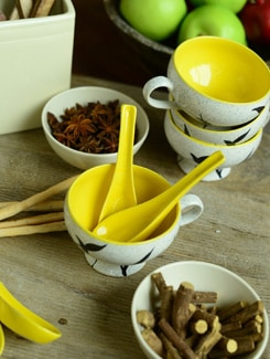 Gala Soup Mugs - Yellow And White- Set Of 6 - Cultural Concepts