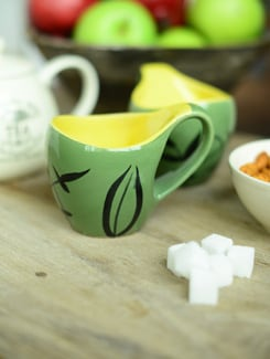 Studio Curved Mugs -set Of 6-green And Yellow - Cultural Concepts