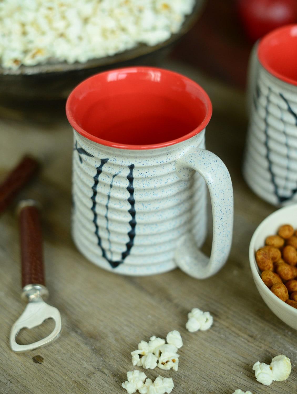 Ribbed Beer Mug Set Of 2 - White And Orange - Cultural Concepts