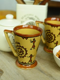 Warli Y Milk Mug - Set Of 6 - Cultural Concepts
