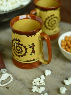 Warli Beer Mug - Set Of 2 - Cultural Concepts