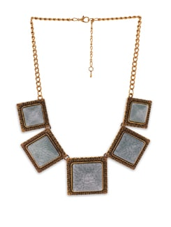 Sage-gold Square Necklace - Dazzling Cuts