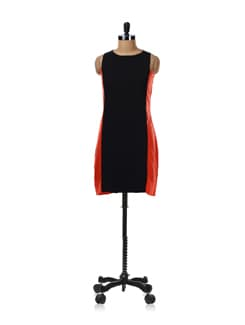 Black And Coral Straight Cut Dress - Femella