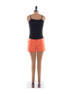 Bright Orange Cotton Shorts - Chemistry