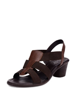 Brown Round Heel Sandals - La Briza