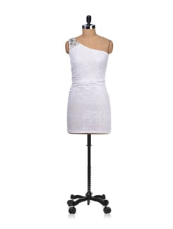 Pearl White Embellished One-shoulder Dress - SPECIES