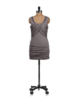 Embellished Grey Cowl Dress - SPECIES
