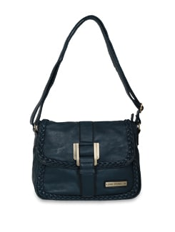 Blue Faux Leather Sling Bag - Lino Perros