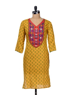 Block Printed Kurta With Embroidered Neckline - Varenya 18076