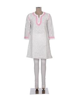 Elegant White And Pink Chikankari Kurta - Ada