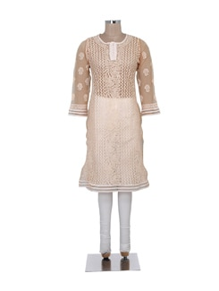 Light Brown Sheer Chikankari Kurta - Ada