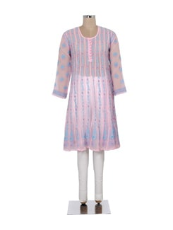 Pink And Blue Panelled Chikankari Kurta - Ada