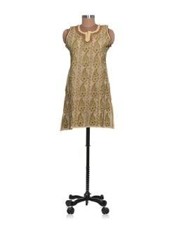 Beige And Green Chikankari Kurta - Ada