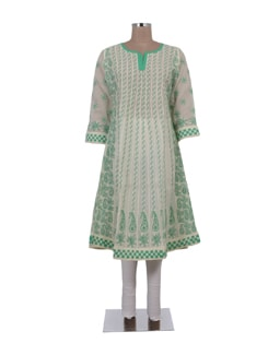 White And Mint Green Chikankari Kurta - Ada
