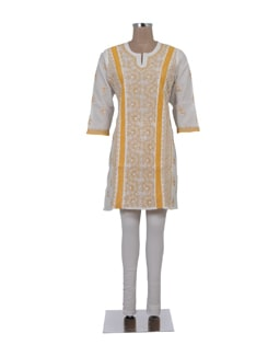 White And Yellow Crochet Chikankari Kurta - Ada