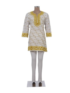 White And Yellow Short Chikankari Kurti - Ada