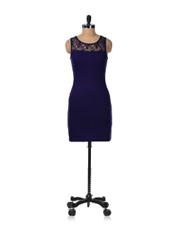 Lacy Navy Blue Dress - GRITSTONES