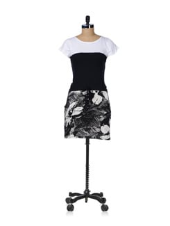 Black And White Tie Up Dress - GRITSTONES