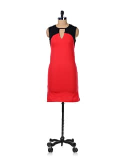 Stylish Red And Black Dress - GRITSTONES